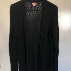 Mossimo Black Knitted Open Front Cardigan Size L